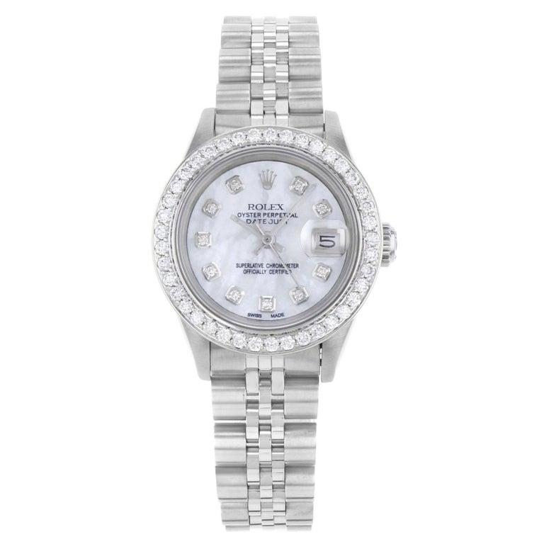Rolex Datejust 69160 Custom Diamond White MOP Dial & Bezel Automatic Watch