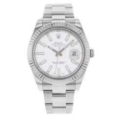 Rolex Datejust II 116334 White Dial Steel 18K White Gold Automatic Mens Watch