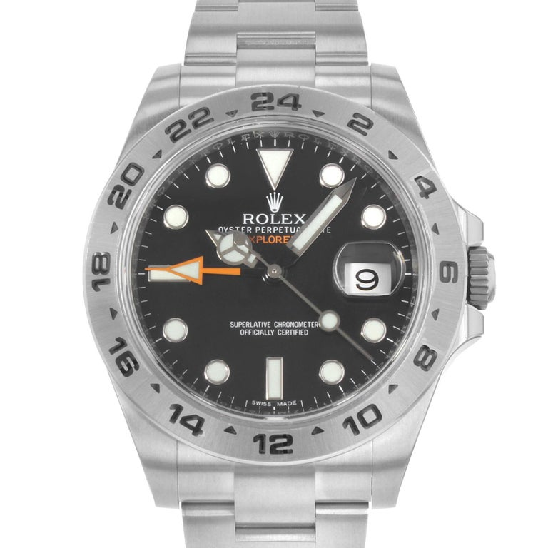 (17930) This display model Rolex Explorer II 216570 is a beautiful men's timepiece that is powered by an automatic movement which is cased in a stainless steel case. It has a round shape face, date, dual time dial and has hand sticks & dots style