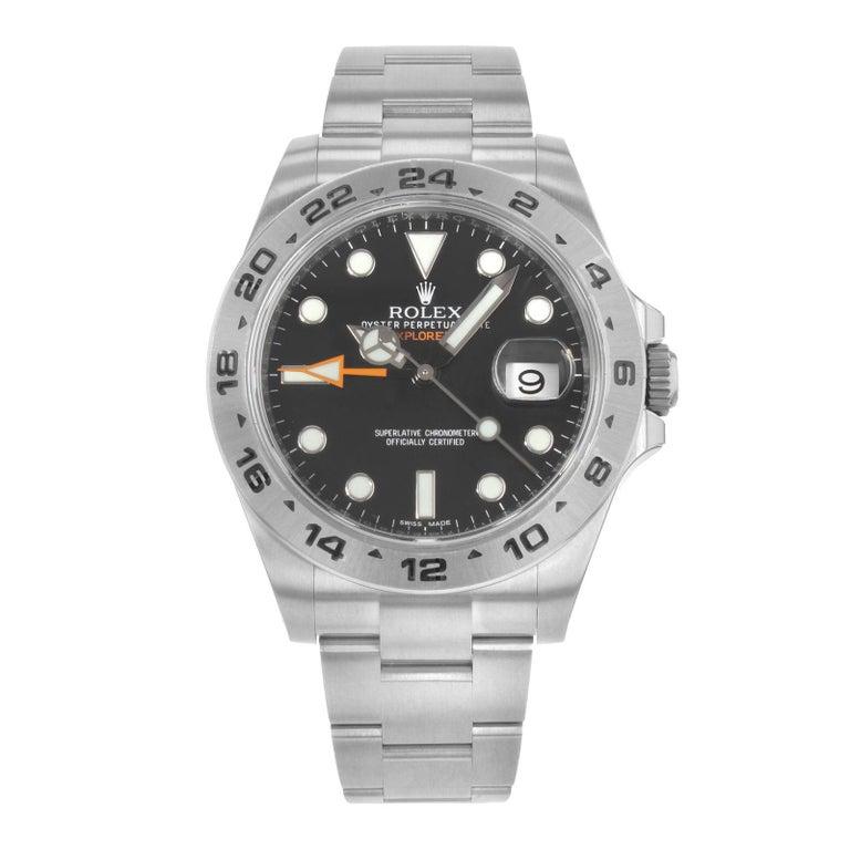 Rolex Explorer II 216570 Bk Black Dial GMT Steel Automatic Men's Watch For Sale