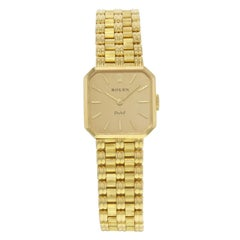 Rolex Orchid 2663 Champagne Square Dial 18 Karat Gold Hand Wind Ladies Watch