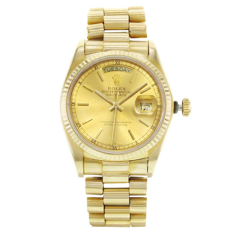 Rolex Day-Date 18038 18 Karat Gold 1979 Champagne Dial Automatic Men's Watch