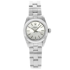 Rolex Oyster Perpetual 67180 Silver Stick Dial Steel 1995 Automatic Ladies Watch