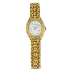Audemars Piguet Oval White Dial 18 Karat Yellow Gold Hand Wind Ladies Watch