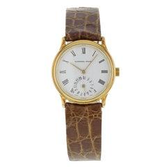 Audemars Piguet White Roman Dial 18 Karat Gold Leather Hand Wind Ladies Watch
