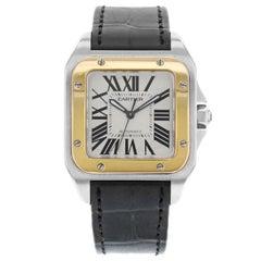 Cartier Santos 100 W20107X7 18 Karat Gold Steel Square Automatic Midsize Watch