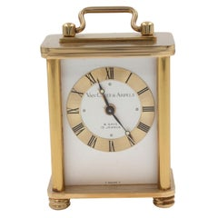 Van Cleef & Arpels 8 Days Vintage Brass Silver Dial Hand Wind Table Alarm Clock