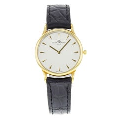 Baume et Mercier Classima 18 Karat Gold Black Leather Ladies Watch MVO45080