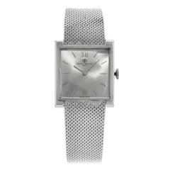 Baume & Mercier Square Silver Dial 14 Karat White Gold Hand Wind Ladies Watch