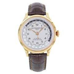 Baume et Mercier Capeland Worldtimer Beige Dial 18 Karat Gold Men's Watch 10107