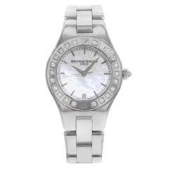 Baume & Mercier Linea Mother Pearl Dial Steel Diamonds Quartz Ladies Watch 10072
