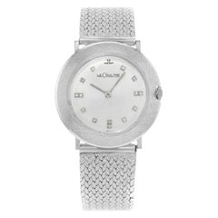 Jaeger-LeCoultre Silver Dial 14 Karat White Gold Diamonds Hand Wind Ladies Watch