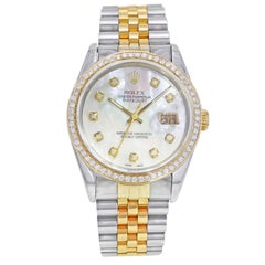 Rolex Datejust 16233 Steel 18K Gold Custom Bezel and Dial Automatic Mens Watch