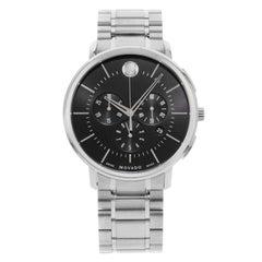 Movado Ultra-Thin Black Soleil Dial Chronograph Steel Quartz Men's Watch 0606886
