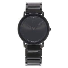 Movado Sapphire Black Dial Analog PVD Thin Steel Quartz Men's Watch 0606882