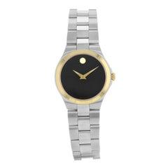Movado Sport Edition Black Dial Gold Tone Bezel Steel Quartz Ladies Watch 606910