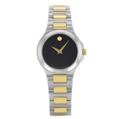 Movado Museum Black Dial Stainless Steel Gold Tone Quartz Ladies Watch 606182