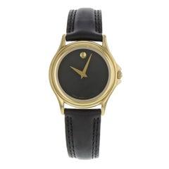 Movado Museum Black Dial Leather Gold Tone Steel Quartz Ladies Watch 690299
