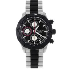 Valentino Steel Rubber Black Dial Chrono Automatic Men's Watch V40LCA9R909-S09R