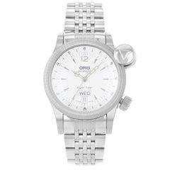 Oris Flight Timer Silver Day Date Steel Automatic Men's Watch 635 7568 40 61 MB