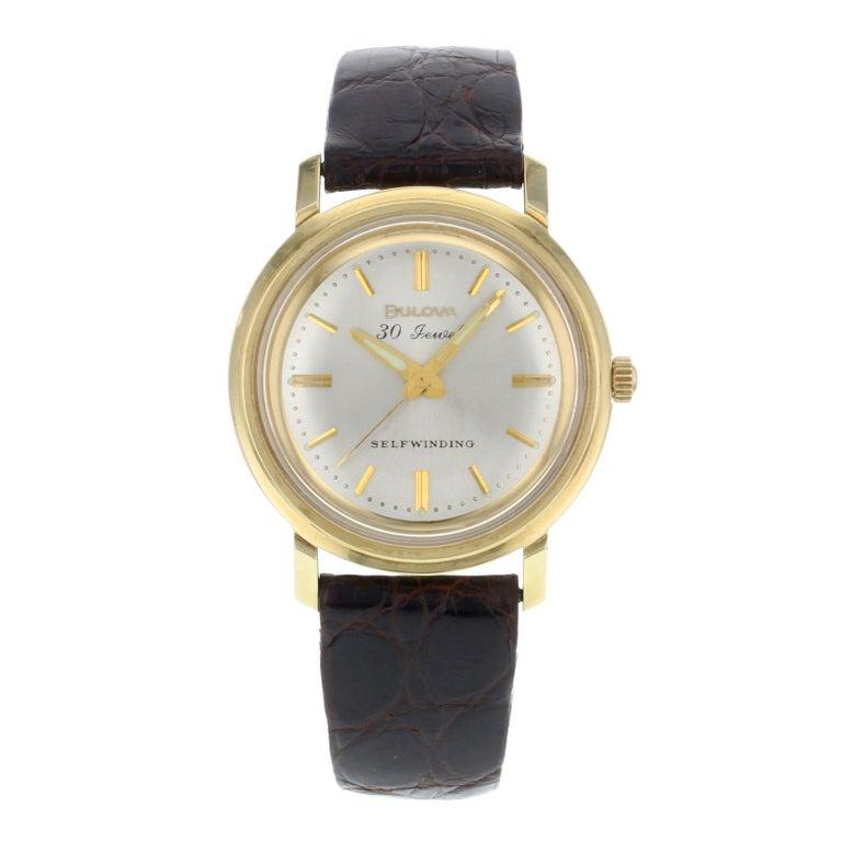 Bulova M5 Silver Dial 14 Karat Yellow Gold Brown Leather Self Winding Mens Watch