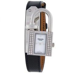 Hermes Kelly White Dial Original Diamonds Quartz Steel Ladies Watch KE1232212