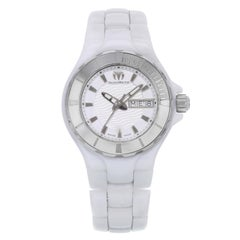 Technomarine Cruise White Dial Ceramic Day Date Steel Ladies Watch 110022C