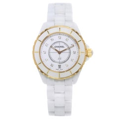 Chanel J12 H2180 18 Karat Rose Gold White Ceramic Diamond Quartz Unisex Watch