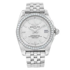 Breitling Galactic MOP Sticks Dial Diamond Steel Ladies Watch A7433053/A779-376A