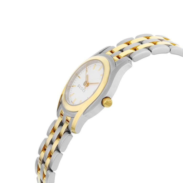 8d1fc898722 Gucci 5500L White Dial Two-Tone Stainless Steel Quartz Ladies Watch YA055528  In Good Condition