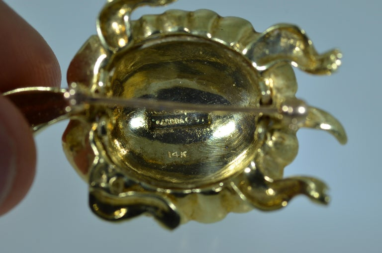Karbra Turtle Brooch with Enamel and Diamond Eyes In Excellent Condition For Sale In Warrington, PA