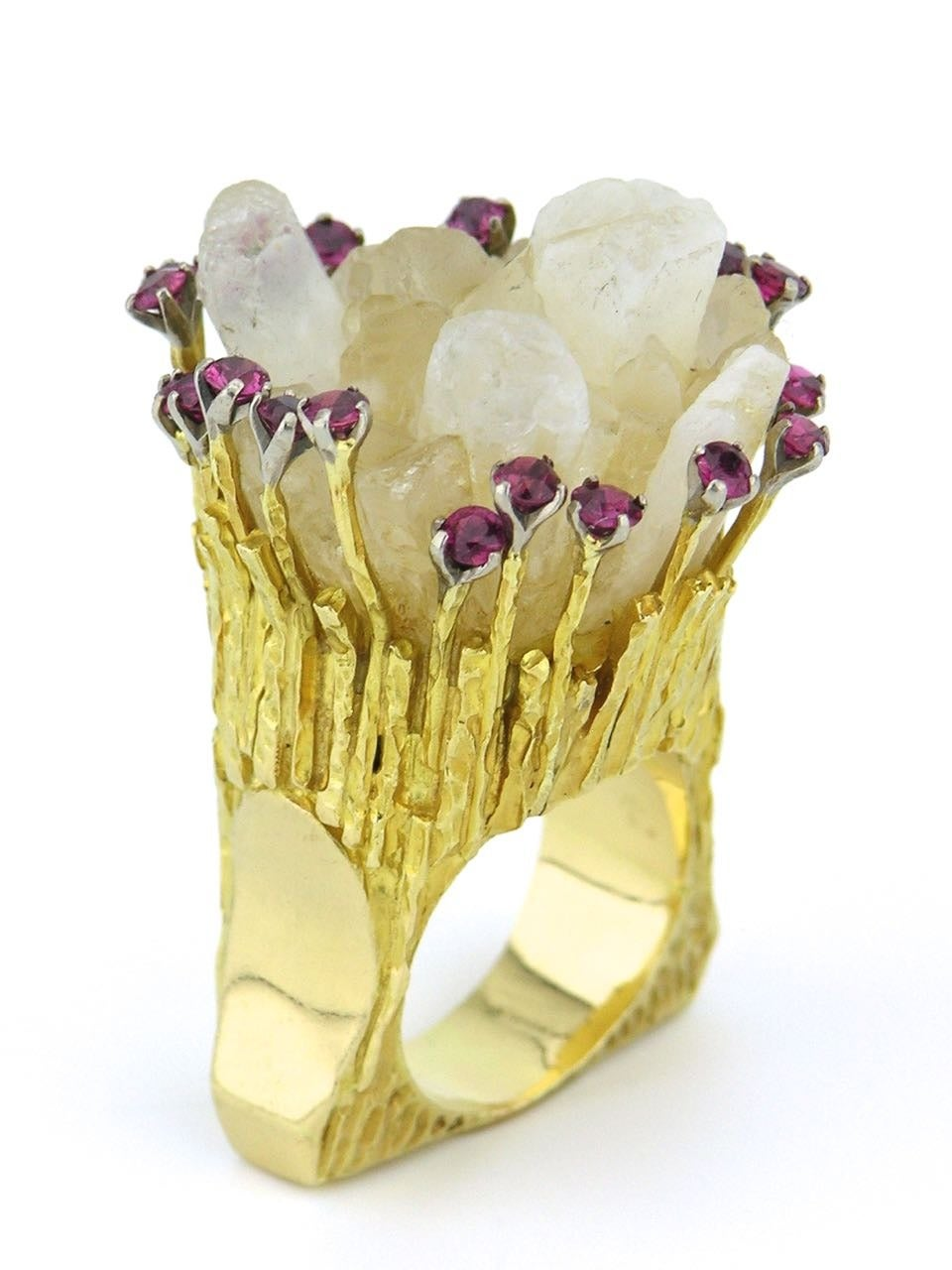 1970s Australian Quartz Ruby Gold Large Organic Ring For