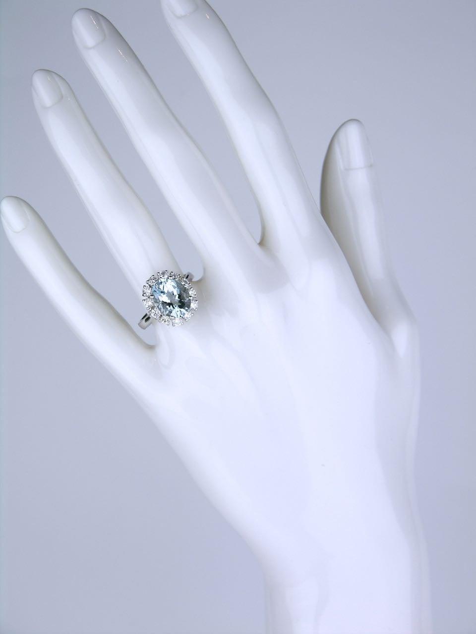 American oval aquamarine diamond Gold cluster ring 6