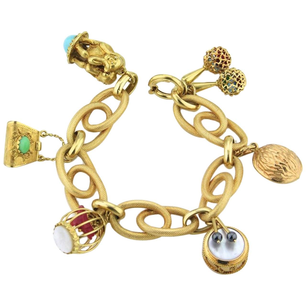Italian Charm Bracelet Brands: 1960s Italian Gold Charm Bracelet At 1stdibs