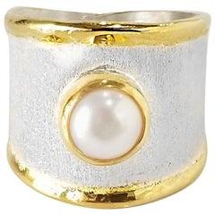 Yianni Creations 7 MM Pearl Fine Silver 24 Karat Gold Artisan Ring
