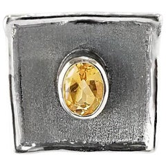 Yianni Creations 1.25 Carat Citrine Fine Silver and Oxidized Rhodium Ring