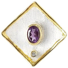 Yianni Creations 1.25 Carat Amethyst Diamond Fine Silver 24 Karat Gold Ring
