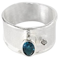 Yianni Creations 0.57 Carat Blue Topaz and Diamond Fine Silver Palladium Ring