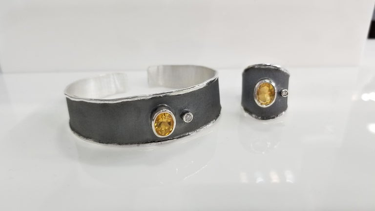 Oval Cut Yianni Creations 1.25 Carat Citrine and Diamond Fine Silver and Rhodium Ring For Sale