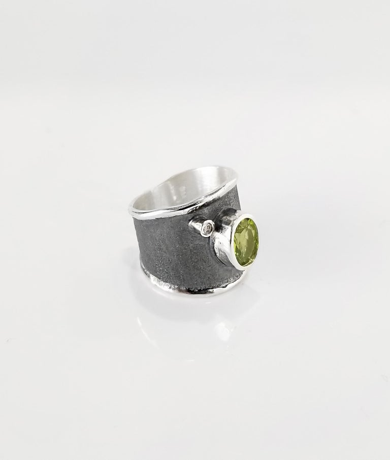 Oval Cut Yianni Creations 1.35 Carat Peridot and Diamond Fine Silver and Rhodium Ring For Sale