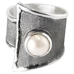 Yianni Creations 7MM Pearl Fine Silver and Oxidized Rhodium 100% Handmade Ring