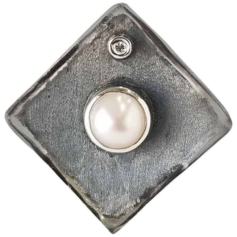 Yianni Creations Pearl and Diamond Fine Silver and Oxidized Rhodium Ring