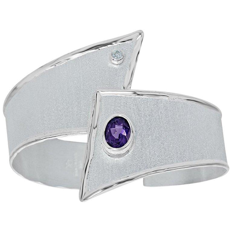 Yianni Creations 1.75 Carat Amethyst Diamond Fine Silver Palladium Bracelet For Sale