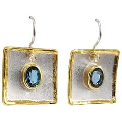 Yianni Creations 3.2 Carat Topaz and Diamond Fine Silver 24 Karat Gold Earrings