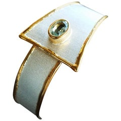Yianni Creations 1.10 Carat Aquamarine Fine Silver and 24 Karat Gold Bracelet