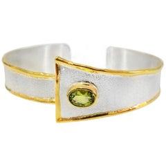 Yianni Creations 1.35 Carat Peridot Diamond Fine Silver 24 Karat Gold Bracelet