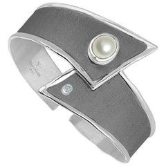 Yianni Creations Pearl and Diamond Fine Silver Rhodium Bangle Bracelet