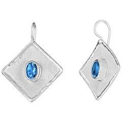 Yianni Creations 3.20 Carat Oval Blue Topaz Fine Silver Palladium Earrings
