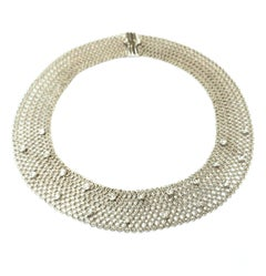 18 Karat White Gold Flexible Textured Choker Necklace with Bezel Set Diamonds