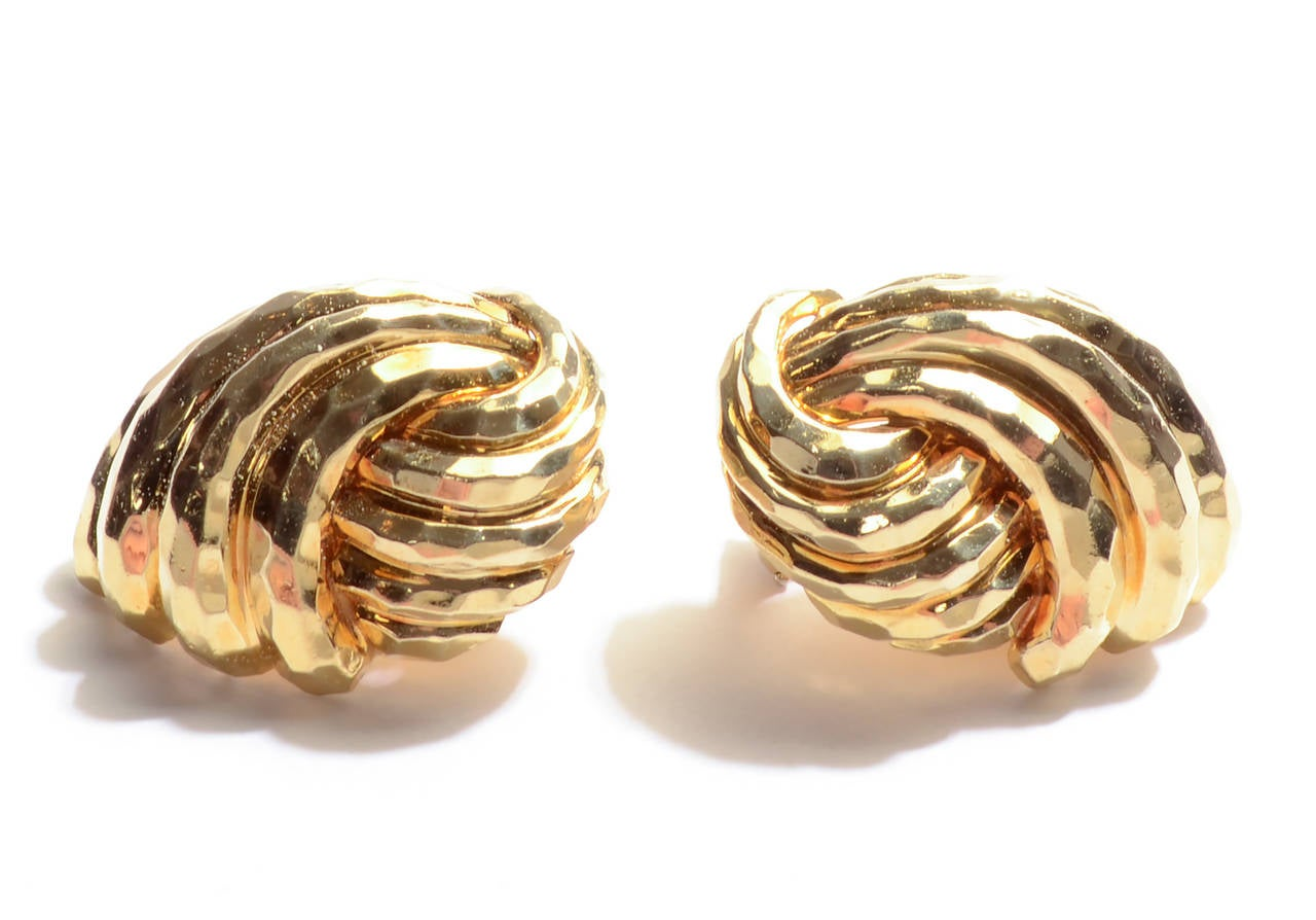Henry Dunay Hammered Gold Earrings 2
